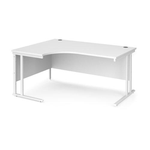 Maestro 25 left hand ergonomic desk 1600mm wide - white cantilever leg frame and white top