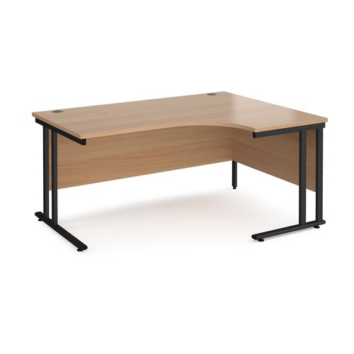 Maestro 25 right hand ergonomic desk 1600mm wide - black cantilever leg frame and beech top