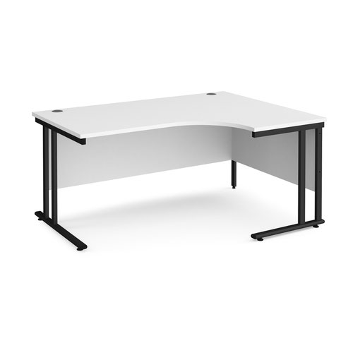 Maestro 25 right hand ergonomic desk 1600mm wide - black cantilever leg frame and white top