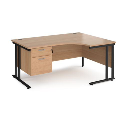 Maestro 25 right hand ergonomic desk 1600mm wide with 2 drawer pedestal - black cantilever leg frame and beech top