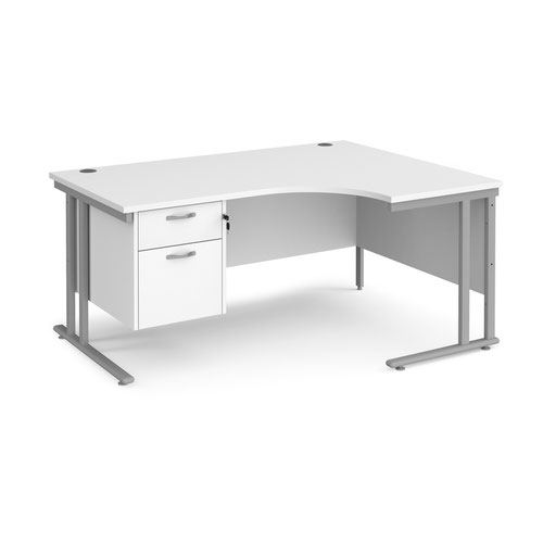 Maestro 25 cantilever right hand ergonomic desk with 2 drawer ped