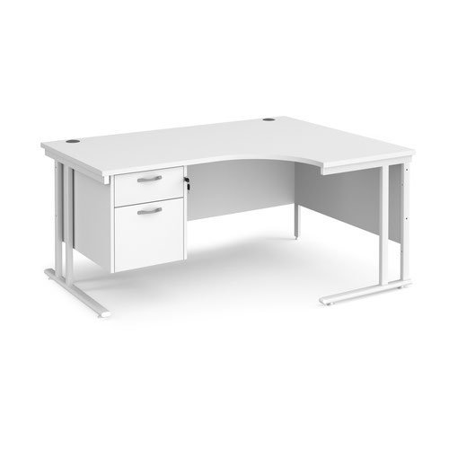 Maestro 25 right hand ergonomic desk 1600mm wide with 2 drawer pedestal - white cantilever leg frame and white top