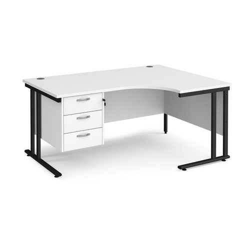 Maestro 25 right hand ergonomic desk 1600mm wide with 3 drawer pedestal - black cantilever leg frame and white top
