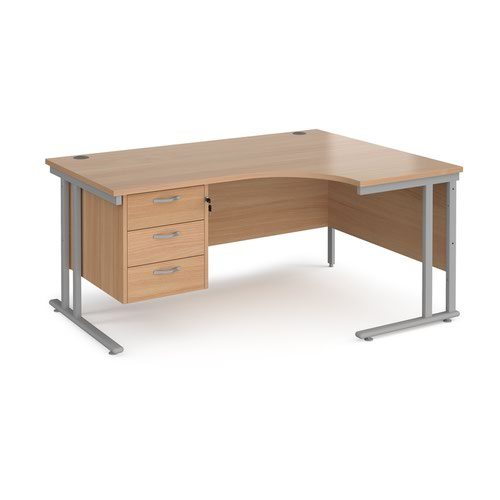 Maestro 25 right hand ergonomic desk 1600mm wide with 3 drawer pedestal - silver cantilever leg frame and beech top