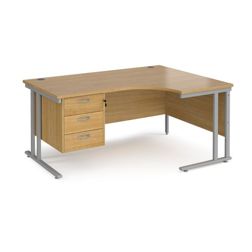 Maestro 25 right hand ergonomic desk 1600mm wide with 3 drawer pedestal - silver cantilever leg frame and oak top