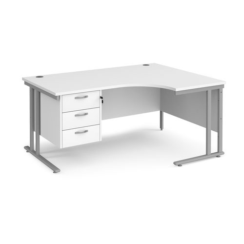 Maestro 25 right hand ergonomic desk 1600mm wide with 3 drawer pedestal - silver cantilever leg frame and white top
