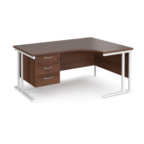 Maestro 25 right hand ergonomic desk 1600mm wide with 3 drawer pedestal - white cantilever leg frame and walnut top