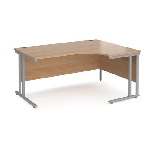 Maestro 25 right hand ergonomic desk 1600mm wide - silver cantilever leg frame and beech top