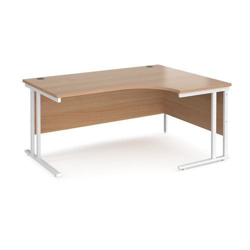 Maestro 25 right hand ergonomic desk 1600mm wide - white cantilever leg frame and beech top