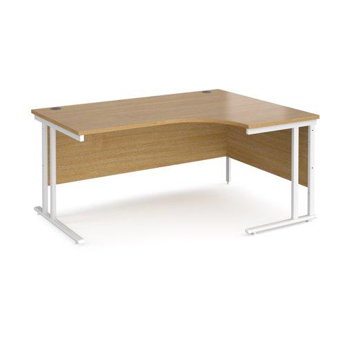 Maestro 25 right hand ergonomic desk 1600mm wide - white cantilever leg frame and oak top