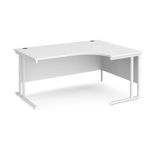 Maestro 25 right hand ergonomic desk 1600mm wide - white cantilever leg frame and white top