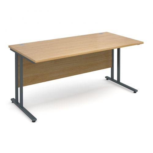 Maestro 25 Gl Straight Desk 1600mm X 800mm Graphite Cantilever Frame Oak Top