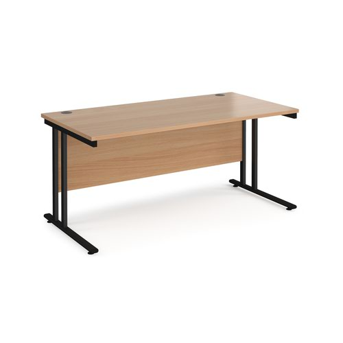 Maestro 25 straight desk 1600mm x 800mm - black cantilever leg frame and beech top