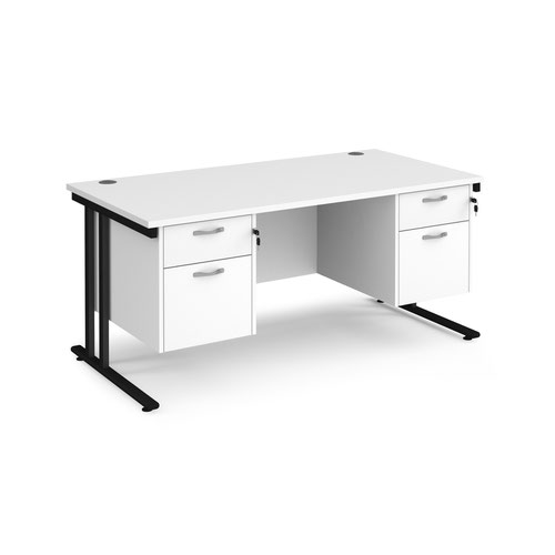 Maestro 25 straight desk 1600mm x 800mm with two x 2 drawer pedestals - black cantilever leg frame and white top