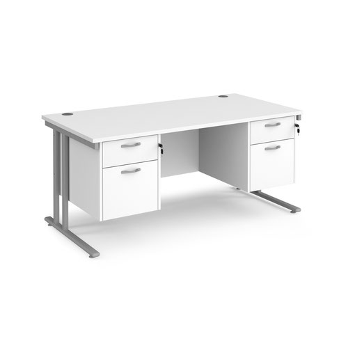 Maestro 25 cantilever 800mm deep desk with 2 x 2 drawer peds