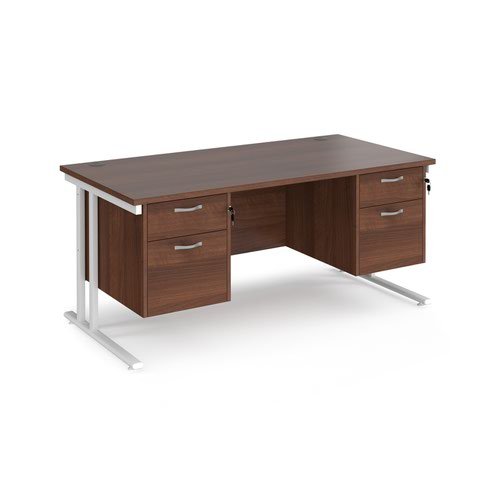 Maestro 25 straight desk 1600mm x 800mm with two x 2 drawer pedestals - white cantilever leg frame and walnut top