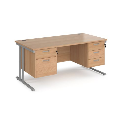 Maestro 25 straight desk 1600mm x 800mm with 2 and 3 drawer pedestals - silver cantilever leg frame and beech top