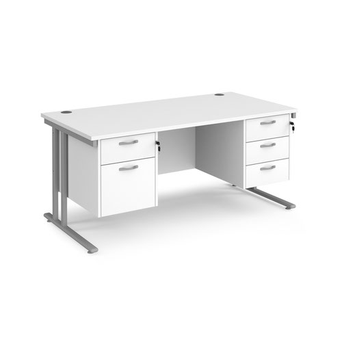 Maestro 25 straight desk 1600mm x 800mm with 2 and 3 drawer pedestals - silver cantilever leg frame and white top