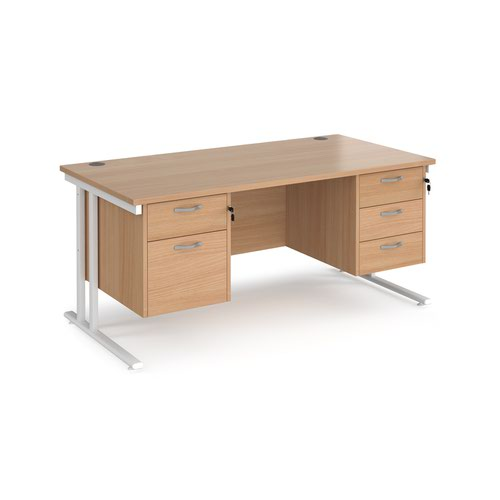 Maestro 25 straight desk 1600mm x 800mm with 2 and 3 drawer pedestals - white cantilever leg frame and beech top