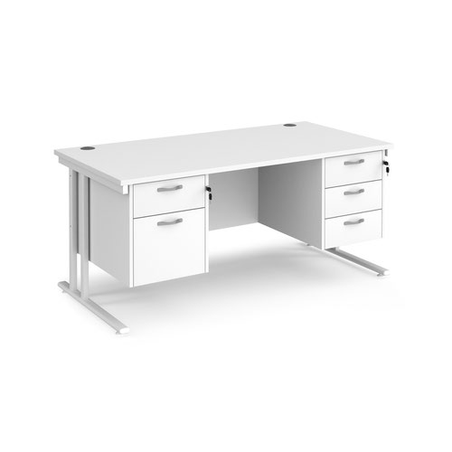 Maestro 25 straight desk 1600mm x 800mm with 2 and 3 drawer pedestals - white cantilever leg frame and white top