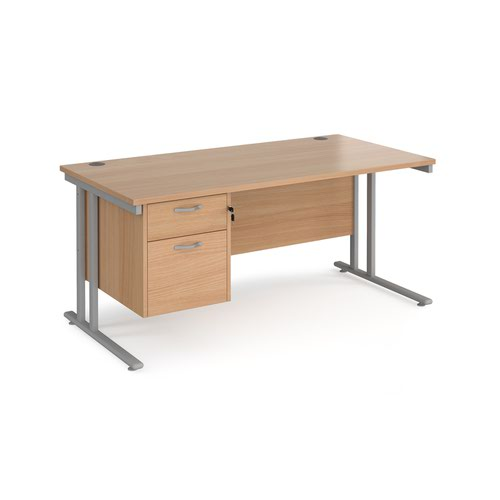 Maestro 25 straight desk 1600mm x 800mm with 2 drawer pedestal - silver cantilever leg frame and beech top