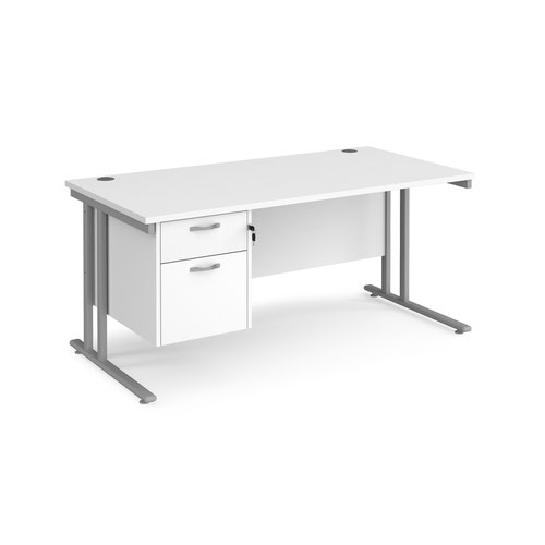 Maestro 25 straight desk 1600mm x 800mm with 2 drawer pedestal - silver cantilever leg frame and white top