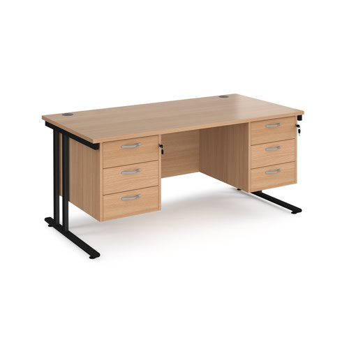 Maestro 25 straight desk 1600mm x 800mm with two x 3 drawer pedestals - black cantilever leg frame and beech top