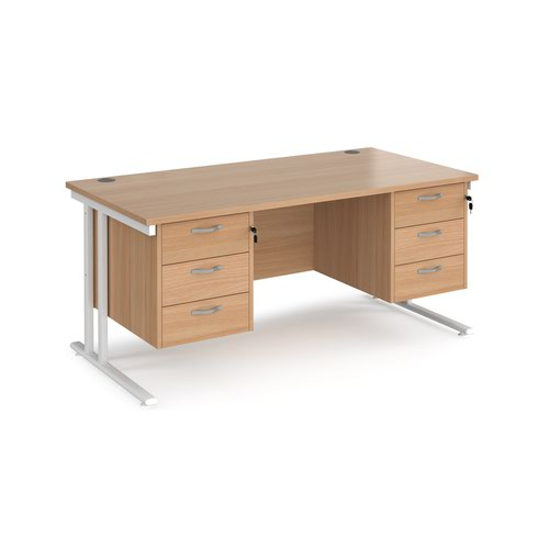 Maestro 25 straight desk 1600mm x 800mm with two x 3 drawer pedestals - white cantilever leg frame and beech top