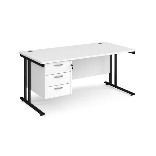 Maestro 25 straight desk 1600mm x 800mm with 3 drawer pedestal - black cantilever leg frame and white top