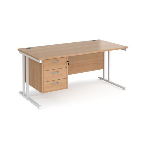 Maestro 25 straight desk 1600mm x 800mm with 3 drawer pedestal - white cantilever leg frame and beech top