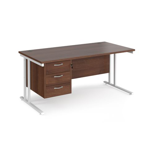 Maestro 25 straight desk 1600mm x 800mm with 3 drawer pedestal - white cantilever leg frame and walnut top