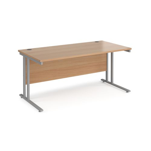 Maestro 25 straight desk 1600mm x 800mm - silver cantilever leg frame and beech top