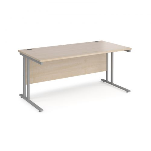 Maestro 25 straight desk 1600mm x 800mm - silver cantilever leg frame and maple top