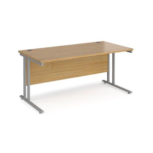 Maestro 25 Sl Silver Double Upright Cantilever Desk 1600W X 800D Oak 25mm Top 18mm Back Panel