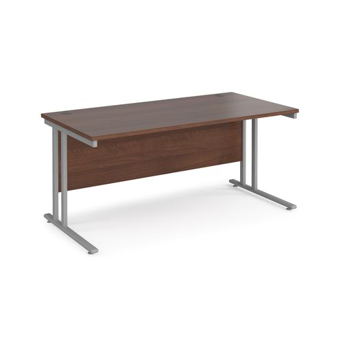 Maestro 25 straight desk 1600mm x 800mm - silver cantilever leg frame and walnut top