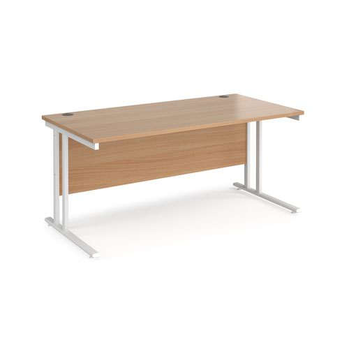 Maestro 25 straight desk 1600mm x 800mm - white cantilever leg frame and beech top