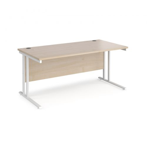 Maestro 25 straight desk 1600mm x 800mm - white cantilever leg frame and maple top