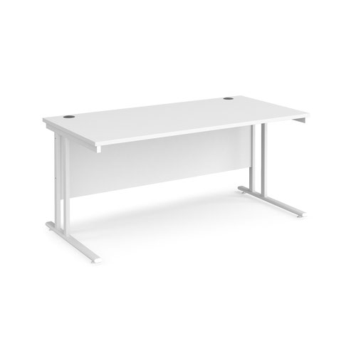 Maestro 25 straight desk 1600mm x 800mm - white cantilever leg frame and white top