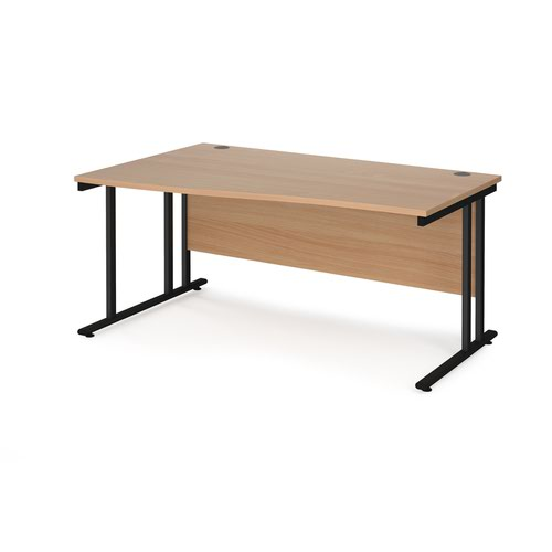 Maestro 25 left hand wave desk 1600mm wide - black cantilever leg frame and beech top