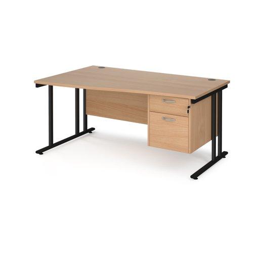 Maestro 25 left hand wave desk 1600mm wide with 2 drawer pedestal - black cantilever leg frame and beech top