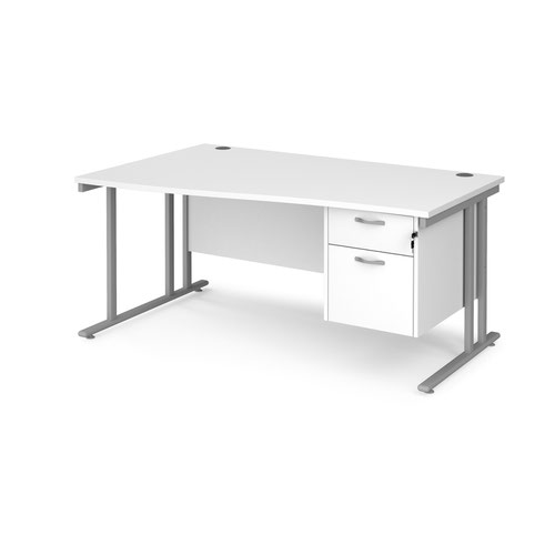 Maestro 25 cantilever left hand wave desk with 2 drawer ped
