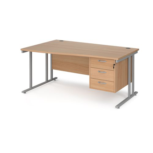 Maestro 25 left hand wave desk 1600mm wide with 3 drawer pedestal - silver cantilever leg frame and beech top