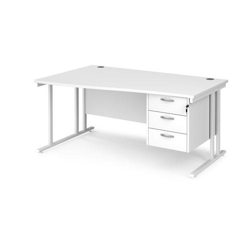 Maestro 25 left hand wave desk 1600mm wide with 3 drawer pedestal - white cantilever leg frame and white top