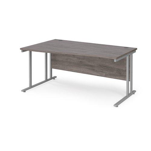 Maestro 25 left hand wave desk 1600mm wide - silver cantilever leg frame and grey oak top