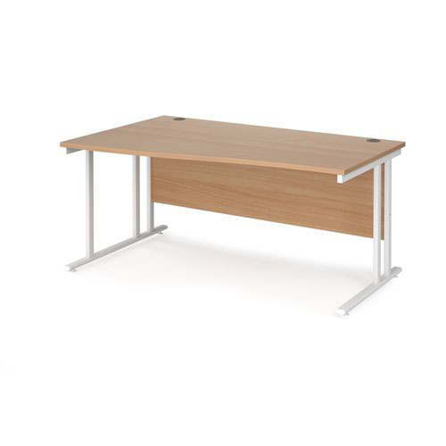 Maestro 25 left hand wave desk 1600mm wide - white cantilever leg frame and beech top