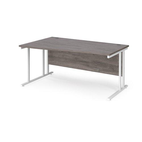 Maestro 25 left hand wave desk 1600mm wide - white cantilever leg frame and grey oak top
