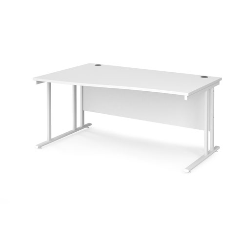 Maestro 25 left hand wave desk 1600mm wide - white cantilever leg frame and white top