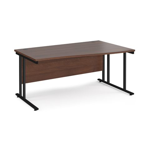Maestro 25 right hand wave desk 1600mm wide - black cantilever leg frame and walnut top