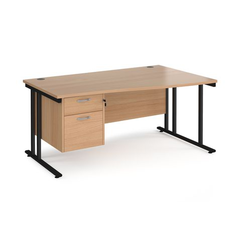Maestro 25 right hand wave desk 1600mm wide with 2 drawer pedestal - black cantilever leg frame and beech top