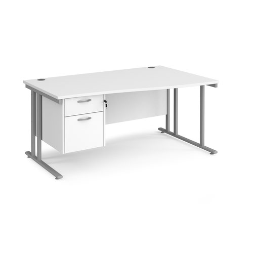 Maestro 25 right hand wave desk 1600mm wide with 2 drawer pedestal - silver cantilever leg frame and white top